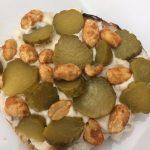wholegrain toast, hummus, gherkins, nuts