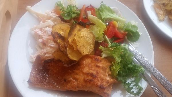 Salmon salad sweet potato